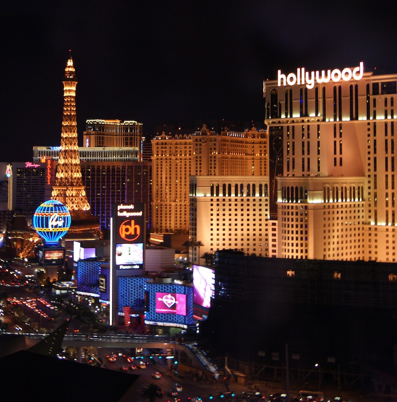 Las Vegas at night from our hotel room