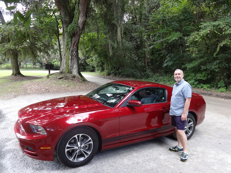 Our Ford Mustang, pictured later in our stay