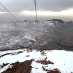 From the cable car, a view of the giant caldera