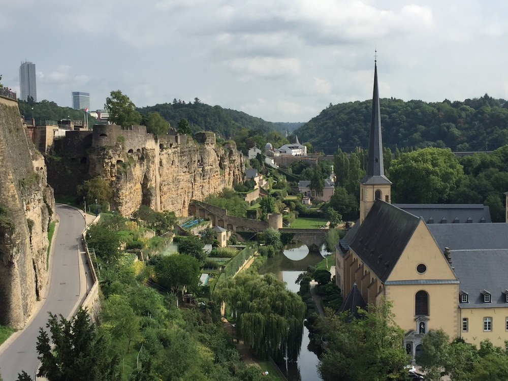 Looking towards the Bock Casemates and the Alzette