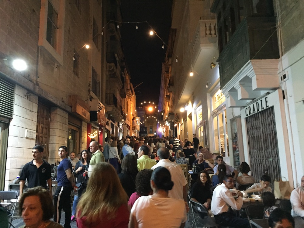 Party time in the streets of Valletta