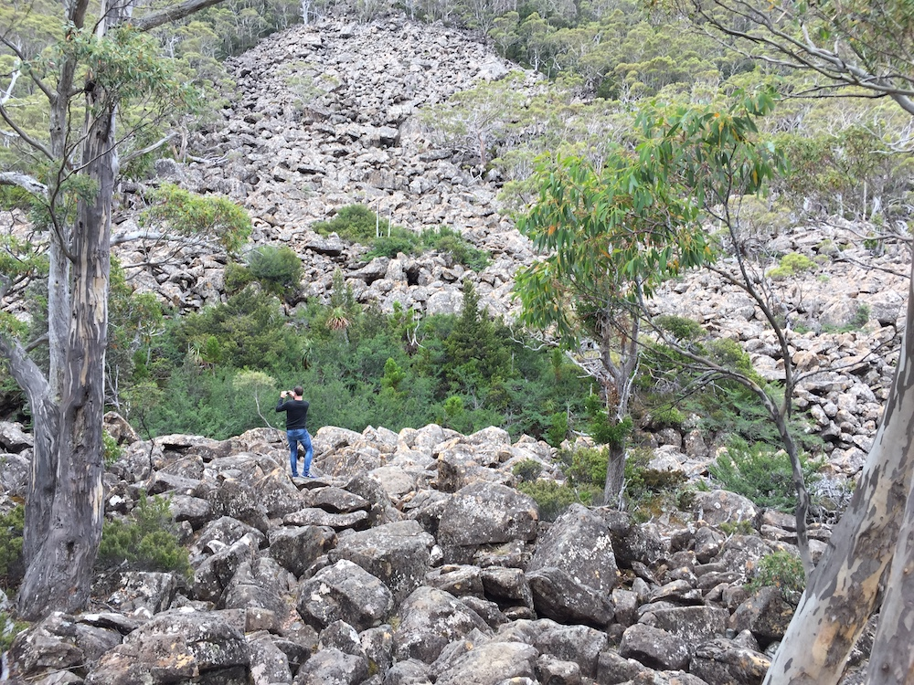 Graham and a boulder field